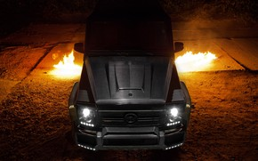 Обои Exhaust, Carbon, Flames, Black, AMG, G65, Mercedes