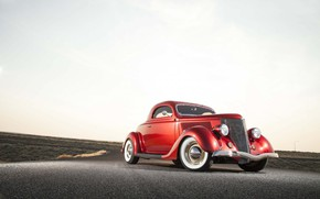 Обои old car, retro, red, 1936, Ford