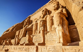 Обои Nubia, Egypt, Абу-Симбел, Sky, Ancient, Abu Simbel, Египет, Rock, Temple, статуи, Небо, Храм, Скала