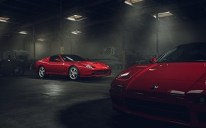 Обои Ferrari, Red, Front, Supercar, Garage, Superamerica