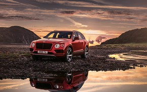Обои закат, Bentayga, 2018, Bentley