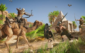 Обои ассасин, Assassin's Creed Origins, Египет, верблюд