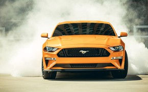 Обои дым, 2018, Mustang GT, Fastback Sports, Ford