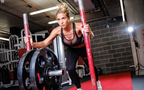 Обои crossfit, gym clothes, Gemma Atkinson, exercise, gym, model, breast, weights, look