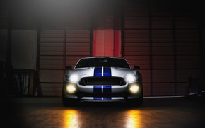 Обои Sight, Mustang, Light, Ford, Front, White, GT500, Shelby