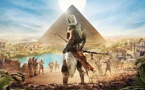 Обои Египет, Пирамида, Bayek, Origins, Ubisoft, Assassin's Creed: Origins, Assassin's Creed