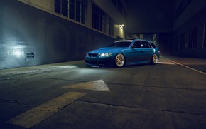 Обои E91, Front, BMW, Blue, Rotifrom, Stance
