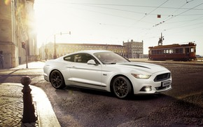 Обои Car, White, Sportcar, city, Mustang, Ford