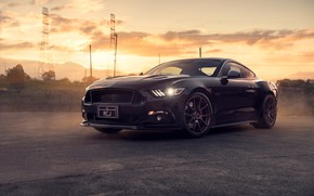 Обои Ford, Mustang, Black, Front, Muscle, Car