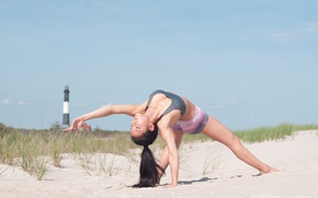 Обои sand, workout, yoga, pose