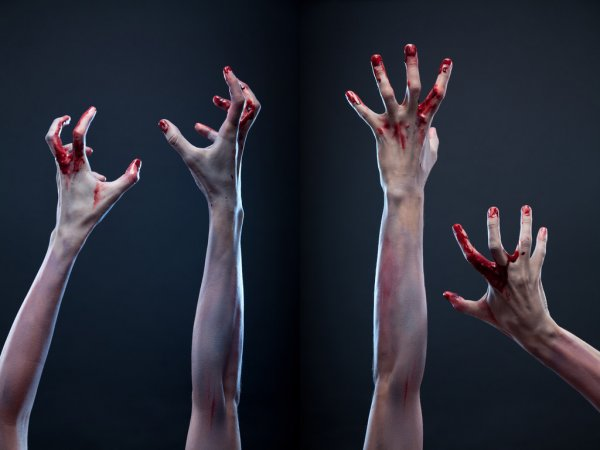 Set of bloody zombie hands — стоковое фото