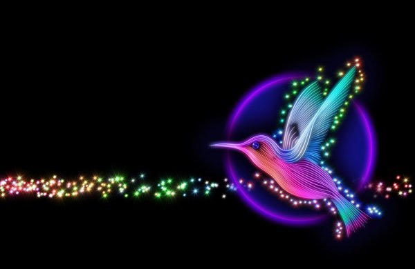 3d render of colibri bird - hummingbird with stars — стоковое фото