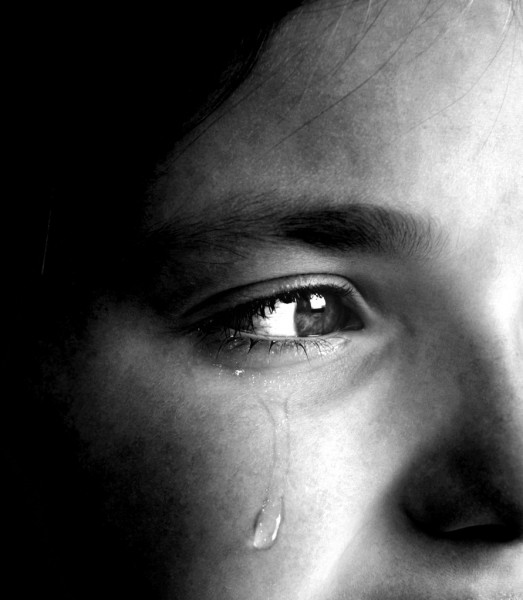 Girl Crying with Tear — стоковое фото